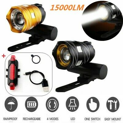 Rechargeable 15000LM XM-L T6 LED USB MTB Bicycle Bike Front Rear Headlight Set