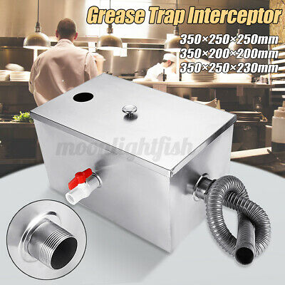 3 Size Grease Trap Stainless Steel Waste Filter Fat Traps Restaurant Easy Clean