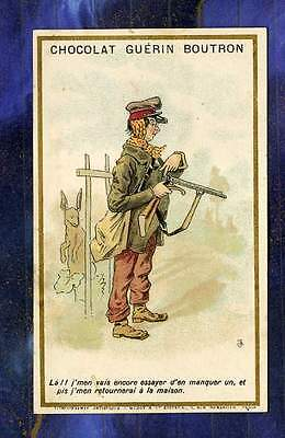 CHROMO GUERIN-BOUTRON Minot Humour chasseur chasse hunter Humor Trade card
