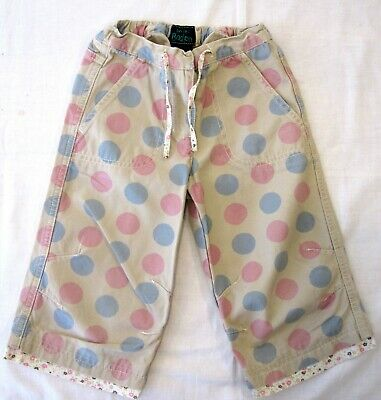 MINI BODEN AGE 3-4yrs GIRL'S PINK & BLUE LARGE SPOT DOT TROUSERS CAPRI PANTS