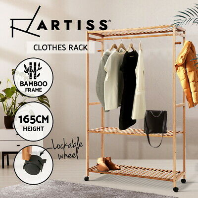 Artiss Bamboo Clothes Rack Coat Stand Garment Hanger Wardrobe Portable Airer