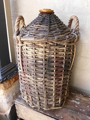 RARE Antique LARGE Huge TALL Vintage POTTERY Stoneware DEMIJOHN with CANE CASING