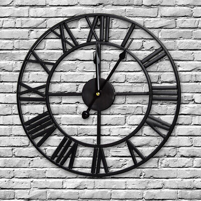 Round Modern 40CM Wall Clock Roman Numeral Home Indoor/Outdoor Open Face Black