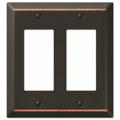 NEW! Amerelle Century Aged Bronze Bronze 2 gang Stamped Steel Rocker Wall Plate