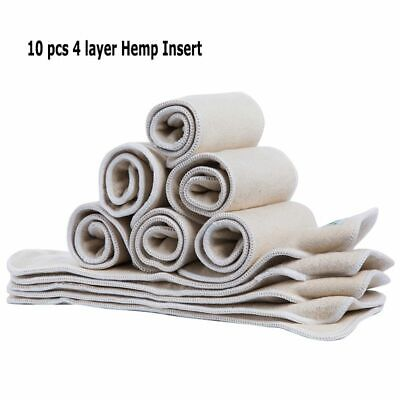 10 Pcs Hemp Cotton Insert Reusable One Size Fit All Cloth Baby Diaper Organic