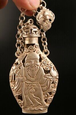 Tibetan Silver Hand-Carved Old Man Statue Snuff Bottle Pendant Collection