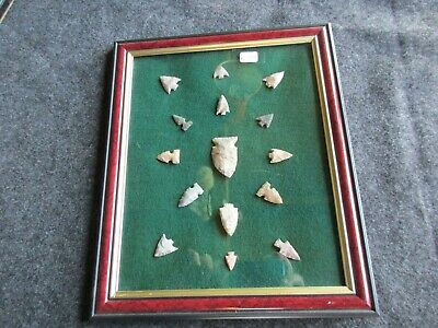Native American Arrowheads, 15-Ct Set, Collector Mounted & Framed Set, Chi K-289