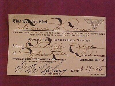 Old 1925 Woodstock Typewriter Certified Typist Card St. Mary's South Bend In.