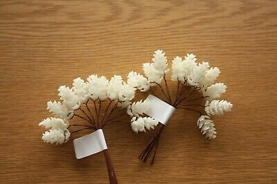 24 x WHITE GLITTER MINI PINE CONES 25mm ON WIRED STEMS CHRISTMAS CRAFT