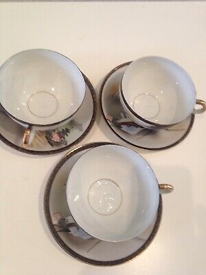 3 X Vintage Ritz China Hand Painted Cups And Saucers