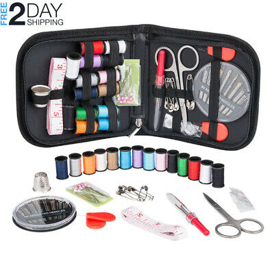 Complete Mini Hand Sewing Kit For Beginners Travel Case Box Portable Emergency