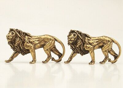 2 Unique China Bronze Pendant Statue Animal Lion Mascot Decoration Gift