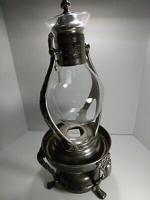 Vintage 4 Pc Silver Plate Glass Carafe Coffee Pot Glass Votive NICE Rare!