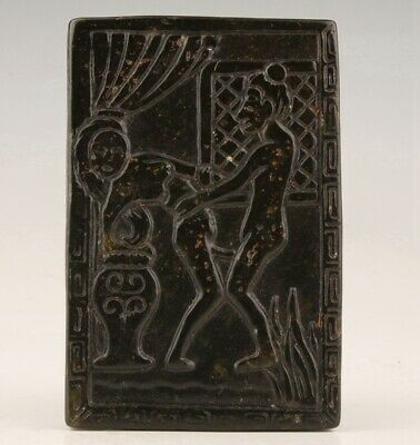 Preciou China Black Jade Hand-Carved Beauty Statue Art Gift Pendant