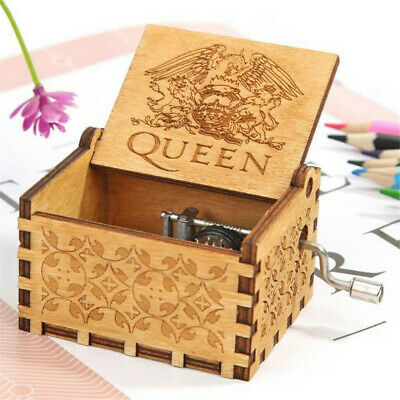 US Wooden Engraved Queen Music Box Bohemian Rhapsody Kids Christmas Gift 64*52mm
