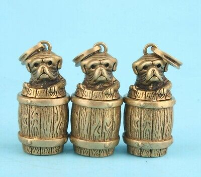 3 Unique China Bronze Pendant Statue Dog Basket Mascot Decorated Old