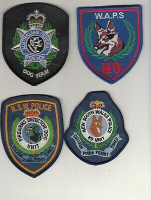 Australia. NSW Police. WA. AFP. 4 Different K-9 Social Only Mint Patches.