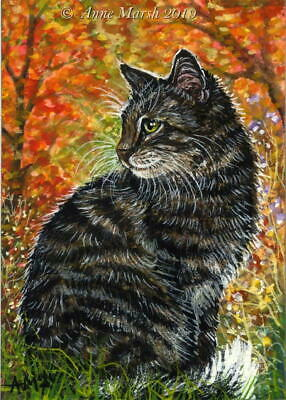 ACEO Original Animal Painting Tabby Cat Autumn In The Forest Fall Anne Marsh Art