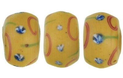 Old African trade beads yellow Fancy Venetian glass beads lampwork Ghana trade