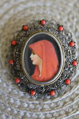 Vintage 800 Silver Filligree Oval Pendant Pin Handpainted Lady, Coral, Signed