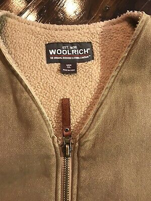 WOOLRICH sherpa Fleece Lined Canvas Work Vest Vintage Extra Large XL