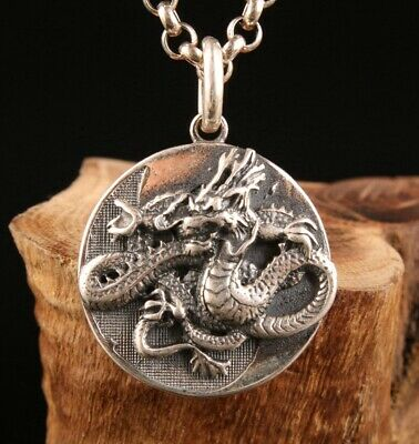 925 Silver Hand-Carved Dragon Sculpture Pendant Exclusive Custom Collection