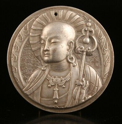 Buddhist China Tibet Silver Pendant Plate Solid Monk Spiritual Collection
