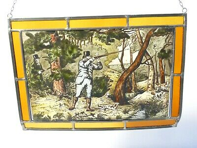 Vintage Shooting Scene Lead Lined Hand Painted Stained Glass Window Hanging