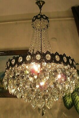 Antique Vintage.French Basket Style Crystal Chandelier Lamp Light 1940's.17 in.