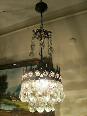Antique VNT.  FRENCH Basket style Crystal Chandelier Light Lamp 1940's 6.7 in.