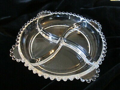 """Imperial Candlewick Glass 8 1/2"""" Divided Relish Dish"""