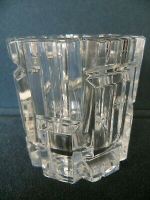 TIFFANY & CO Crystal GEOMETRIC Cut Votive Candle Holder Signed