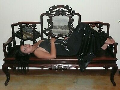 Antique chinese carved couch with pieces of marble