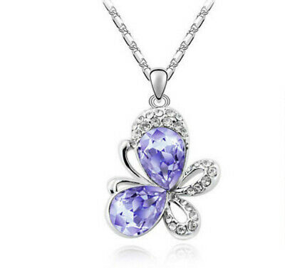 European fashion purple crystal Silver butterfly Pendant Necklace jewelry