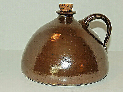 Beautiful Antique Redware Pottery Dome Shaped Brown Whiskey Jug w/ Cork
