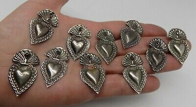 ANTIQUE LOT OLD 10 Sacred Heart Jesus Ex Voto MIRACLE MILAGRO SILVERED X-8