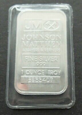 .999 FINE SILVER 1oz JOHNSON MATTHEY BULLION BAR, SEALED, LOT#519