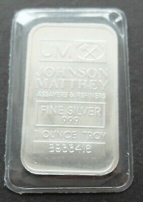 .999 FINE SILVER 1oz JOHNSON MATTHEY BULLION BAR, SEALED, LOT#520