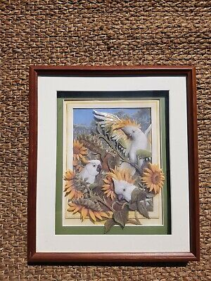 vintage paper tole sunflower and cockatoo picture