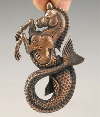 China Old Copper Hand Cast Seahorse Statue Pendant Lovely Gift Collection
