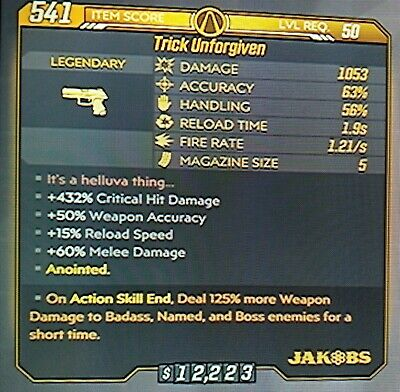 """Borderlands 3 Anointed 125% God Roll """"TRICK UNFORGIVEN"""" level 50 XBOX ONE"""
