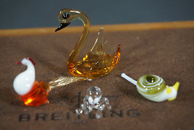 Antique Italian Murano blown Art Glass miniature Figures Snail,Octopus,Bird,Swan