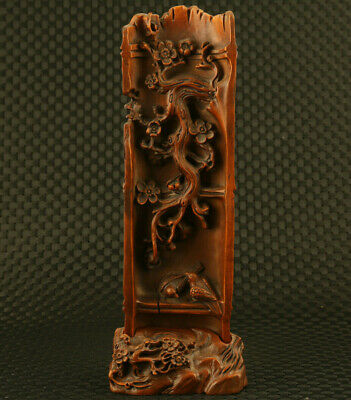 rare chinese old boxwood hand carved tree bird statue noble table decoration