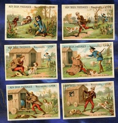 SERIE 6 CHROMOS DEUX PASSAGES Vieillemard CHASSE EPAGNEUL BRETON Spaniel Hunting