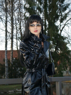 Latex 100% Rubber Windjacke Gürtel Sports Fashion Top High Neck Schwarz Coat