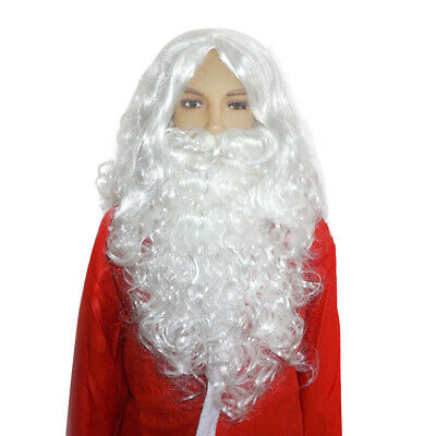 Christmas White Santa Claus Wig Beard Father Xmas Party Fancy Dress Costume UK