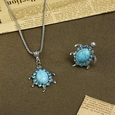Charm Cute Animal Necklace Rings Sea Turtle Turquoise Pendant Women Jewelry Set