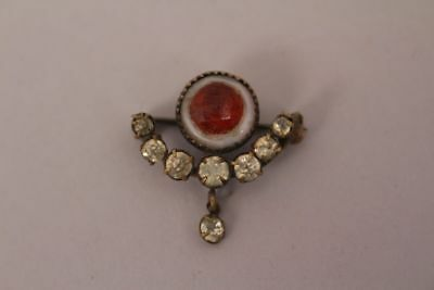 Very Old Rhinestone Brooch with Red and White Stones Antique 19. Century