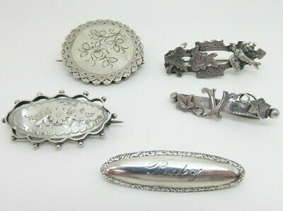 Antique Victorian Edwardian Silver Sweetheart Brooches Chester 1891 Baby Brooch