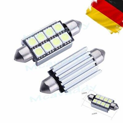 2x 12V Sofitte 42mm mit 8 Power 5050 CHIP SMD LED Xenon Weiß 6000K Soffitte